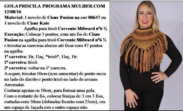 bcc7d05096438 Receita de Tricô  Gola Priscila em trico - Vitória Quintal