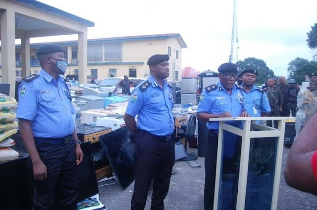 Photos: Police arrest 10 suspects in Akwa Ibom, recover looted properties worth millions of Naira