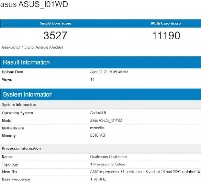 Asus Zenfone 6z Ditenaga dengan Chip Prosesor Snapdragon 855 Muncul Di Geekbench