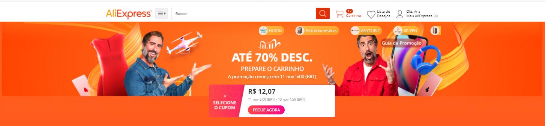 carrinho de compras promocao aliexpress 11.11 dia do solteiro