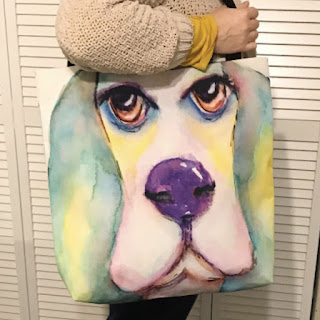 Watercolor Basset Hound Tote bag