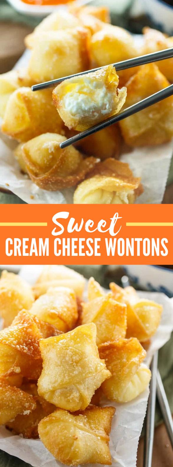 Sweet Cream Cheese Wontons #appetizers #snacks