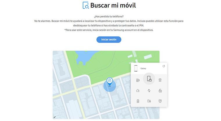 captura de pantalla del sitio web de buscar mi móvil samsung