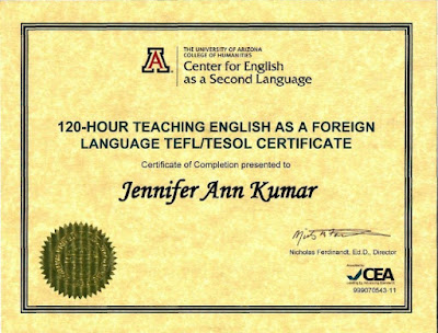 TEFL TESOL Certificate University of Arizona