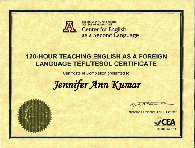 TESOL/TEFL Certification: University of Arizona