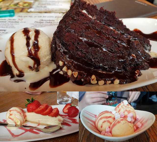 Captain Jack's Coral Island Restaurant Review desserts cheesecake ice cream chocolate brownie