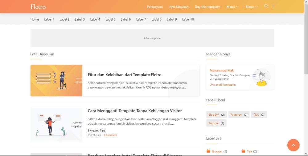 Tampilan Desktop dan Mobile Template Fletro