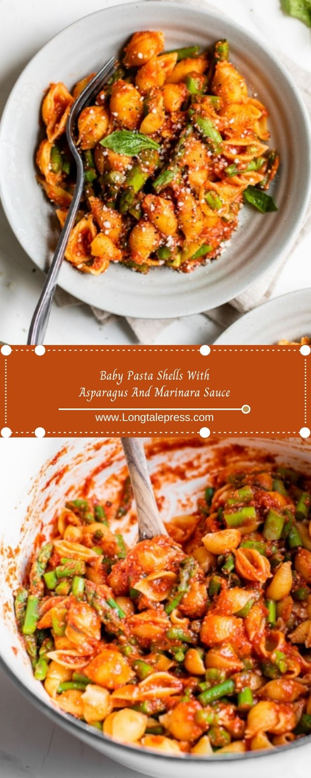 Baby Pasta Shells With Asparagus And Marinara Sauce
