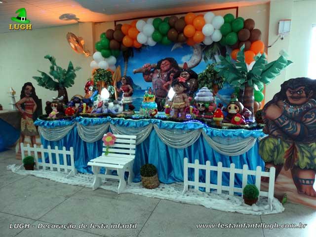 Moana - Mesa de tema luxo para festa infantil - Aniversário feminino