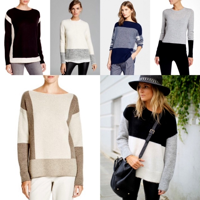 Vince colour block sweaters