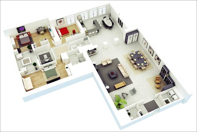 Planta de casa com 3 quartos e sala grande