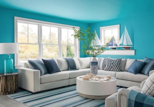 Coastal Blue Painted Walls and Ceiling Living Room Recreation Space