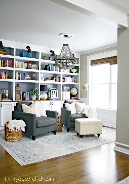DIY bookcases using cabinets