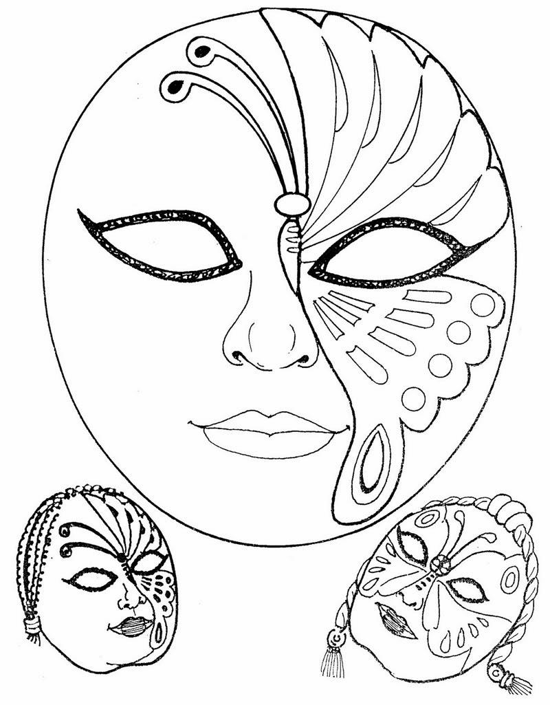 Máscaras de Carnaval Para Colorir Imprimir e Recortar
