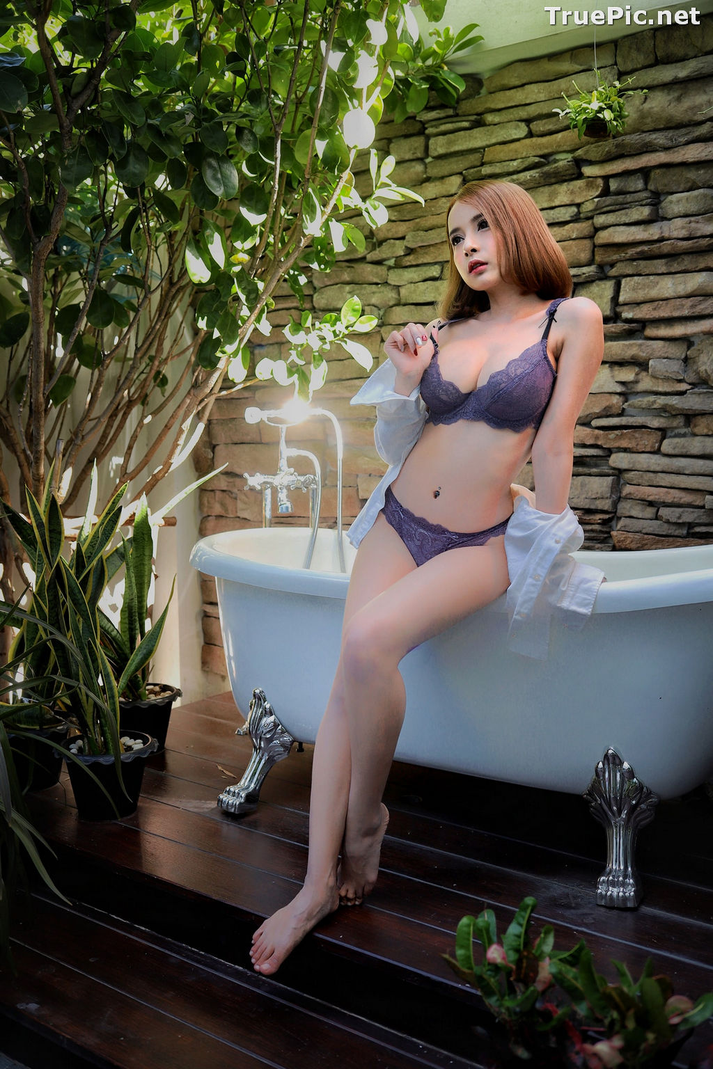 Image Thailand Model - ธนพร อ้นเซ่ง - Sexy In Purple Lingerie - TruePic.net - Picture-4