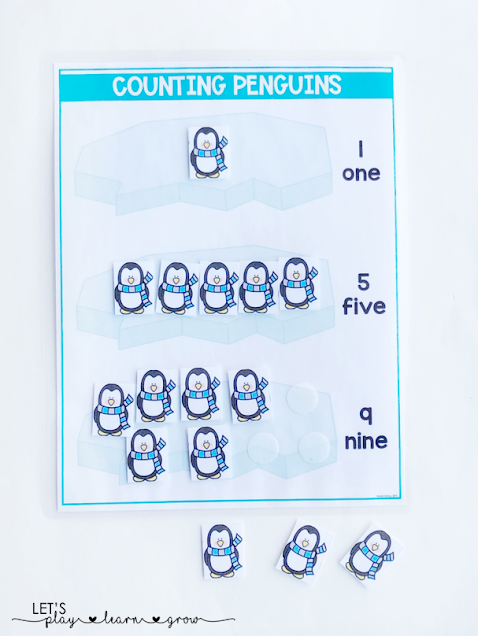 Pracitce number identification, number word identification, and counting with this interactive penguin themed counting activity