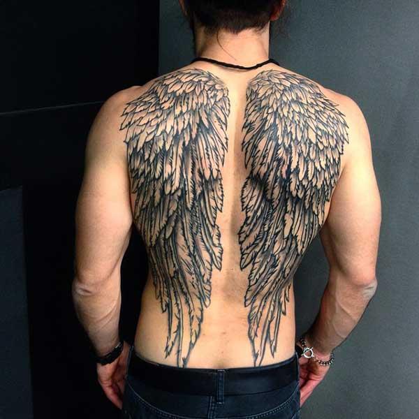 erkek için kanat dövmesi sırt