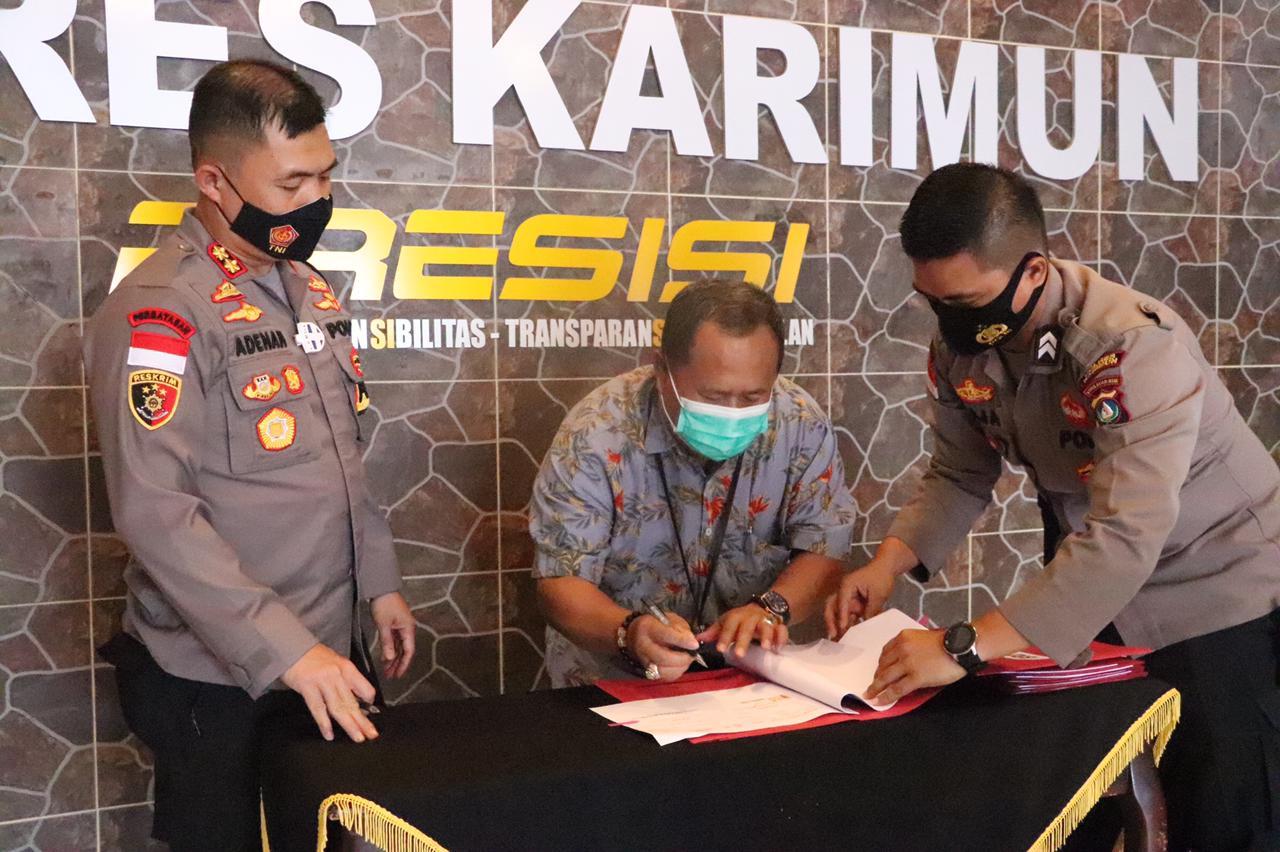 Kapolres Karimun Bersama Lima Pimpinan Bank Teken NKK dan PKT