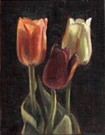 Oil painting of three plastic tulips: one white, one dark red and one apricot.