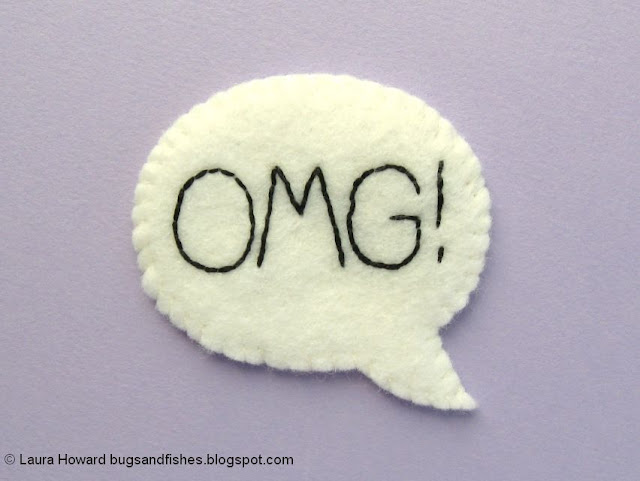 embroidered felt OMG speech bubble