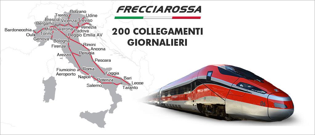 Frecciarossa train for travel in Italy
