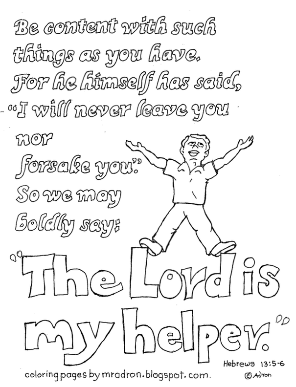 the lord is my helper hebrews 135 6 coloring page for kids - Hebrews 13 8 Coloring Page