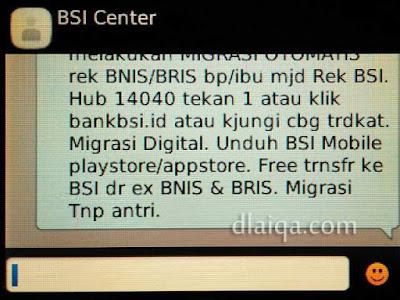 SMS pemberitahuan dari BSI Center (2)