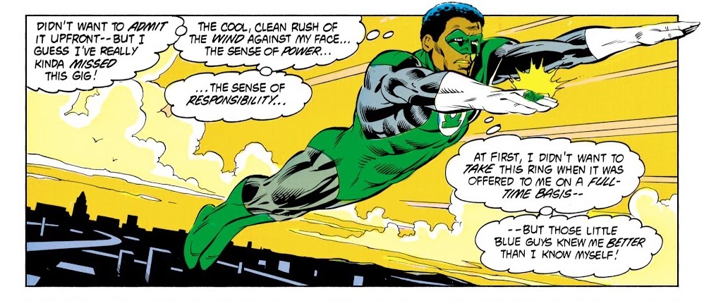 John Stewart musing on his responsibility as a new full-time Green Lantern and the thrill it brings