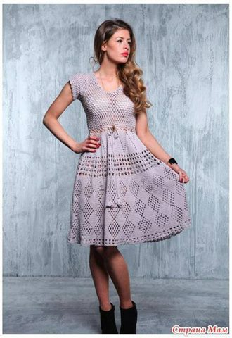 Patrón #1887: Como tejer hermoso vestido a crochet.