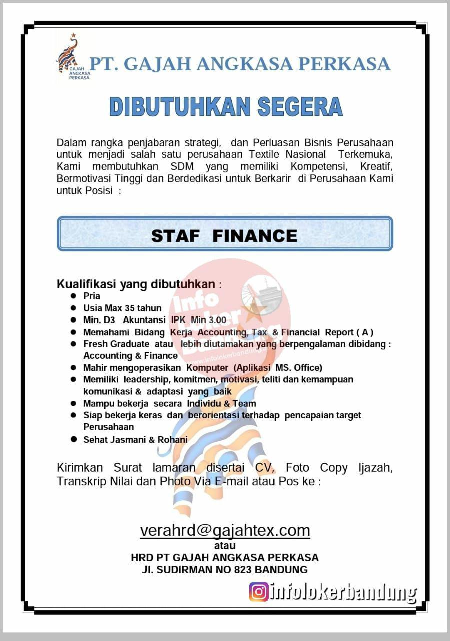 Lowongan Kerja Staf Finance PT. Gajah Angkasa Perkasa Bandung September 2019