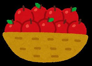 カゴに入った果物のイラスト(りんご)