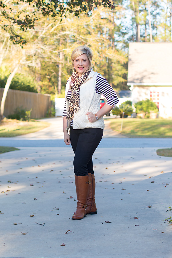 pattern mixing, fall fashion, fall outfit, scarf outfit, riding boots outfit