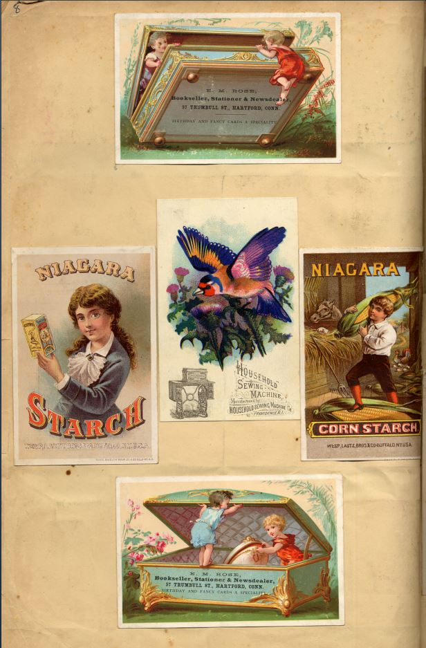 5 cards including jewel box, blue bird, ads for Niagara Corn Starch