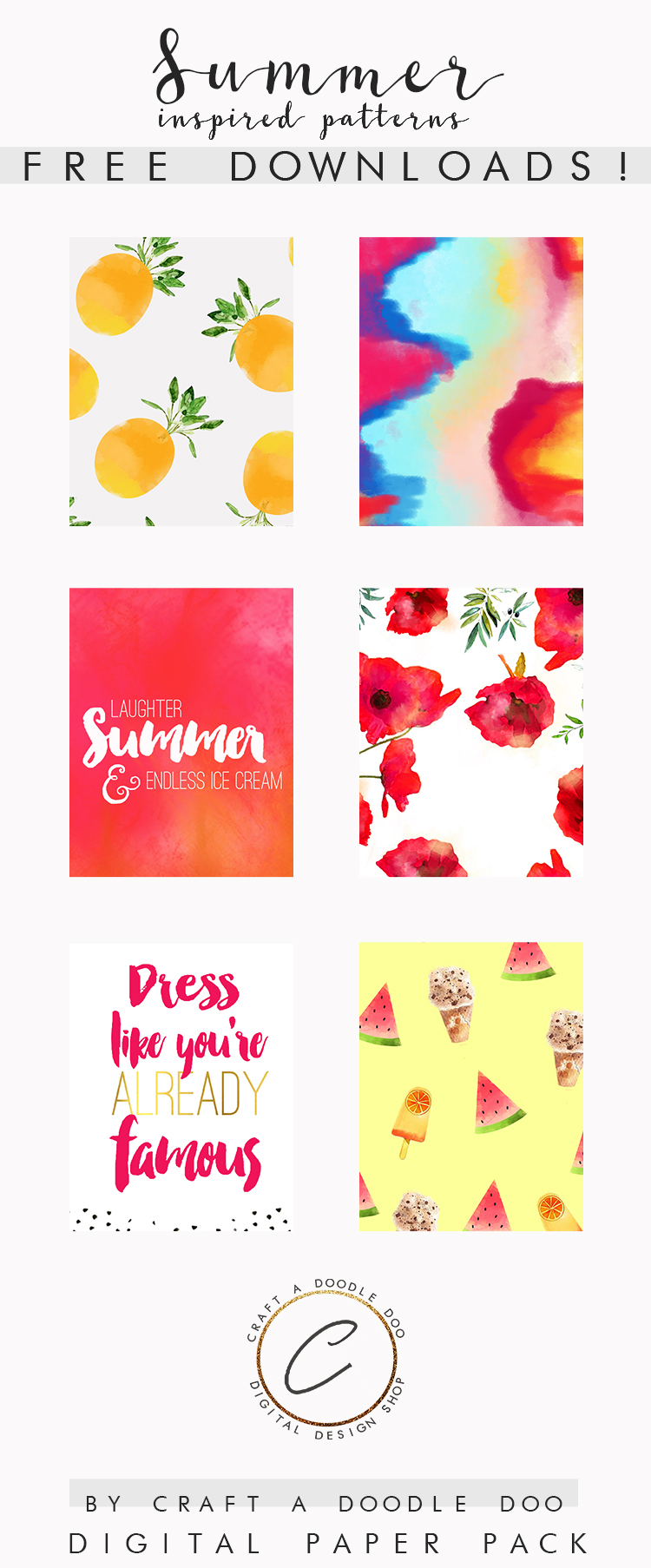 Free Shadows of Summer Digital Paper Backgrounds by Craft A Doodle Doo   Scrapbooking and Planner Printables Patterns Pack #freeprintables #freescrapbookingfreebies #summerprintables #colorfulpatterns #freeplannerprintables #freesummerprintables #summerdesigns