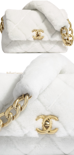 White Chanel shearling flap bag #brilliantluxury