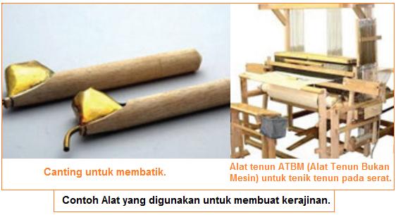 Contoh Alat yang digunakan untuk membuat kerajinan - membatik dan menenun