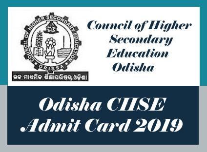 CHSE Odisha Admit card 2019, Download Odisha +2 Roll Number 2019