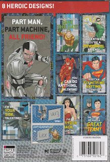Back of the Justice League 32 Valentines box