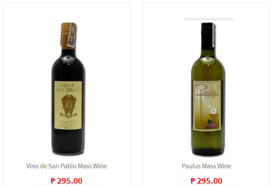 Mass wines from St. Paul's Store for mass offertory items for Philippines wedding