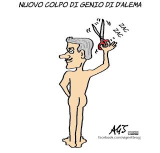 D'Alema, Raggi, Renzi, politico intelligente, vignetta, satira