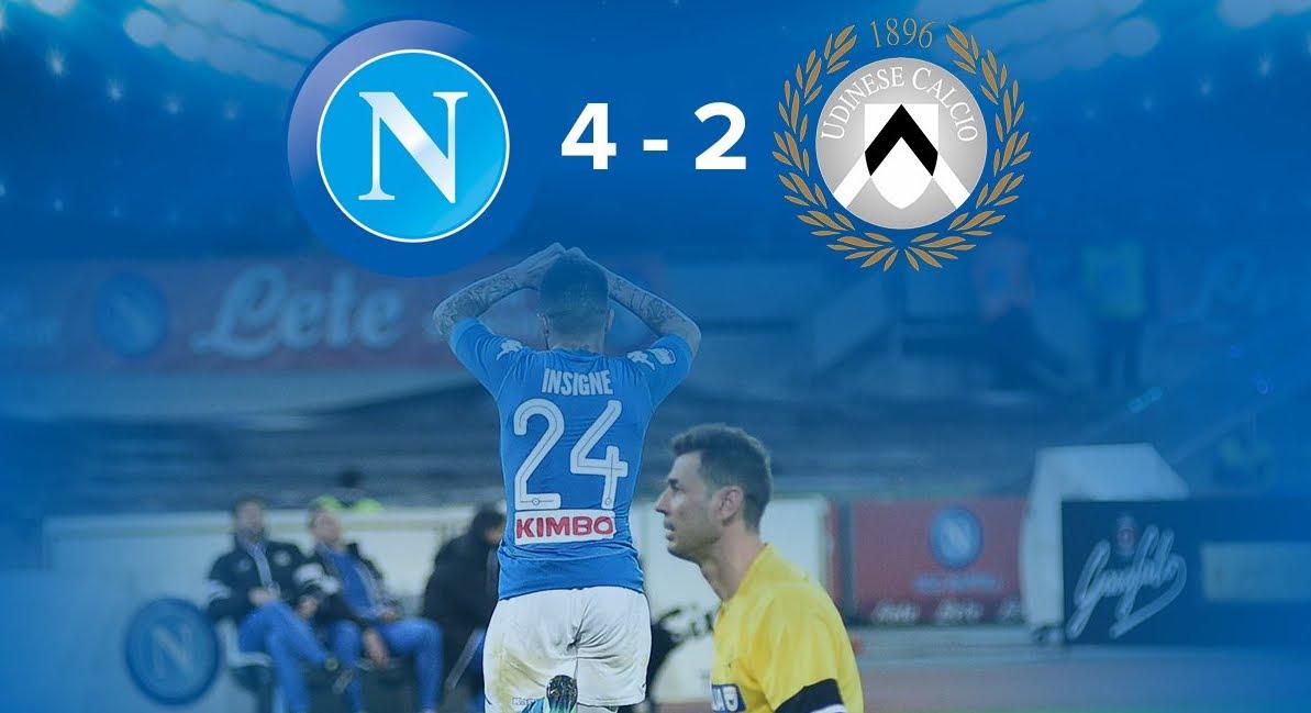 Napoli Udinese 4-2, altra rimonta di cuore e contro la Juventus si partirà da -4