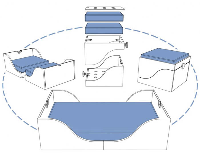 Come trasformare un lettino Matata in divanetto, pouf e pratico spazio porta giochi