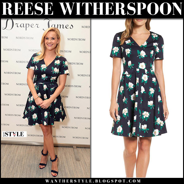 Reese Witherspoon in navy blue floral print mini dress at Draper James event september 27 celebrity style