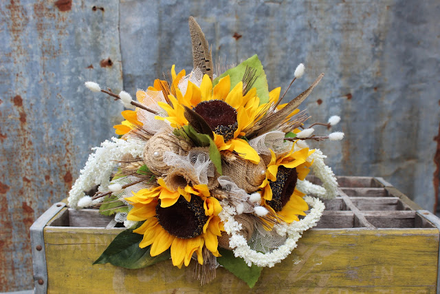 rustic bridal bouquet with sunflowers and burlap