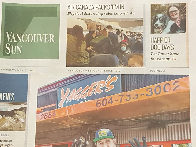 Cover of the Vancouver Sun, 7th May 2020, with the top corner highlighting an interview with Zazie Todd
