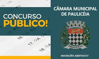 inscrição concurso Câmara de Paulicéia/SP