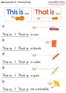 #MamaLovePrint 英文工作紙 -  This is That is English Basic Grammar Learning Activities Kindergarten Worksheet Free Download  英文限定詞  幼稚園工作紙 英文文法學習資源 英文指示代名詞 Demonstrative Pronouns In English