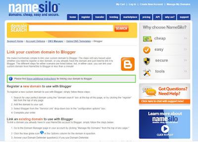 Mengarahkan Custom Domain Namesilo ke Blogspot