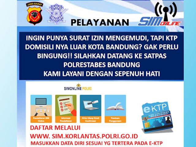 Penerbitan dan Perpanjangan SIM Luar Kota Bandung Bisa di Polrestabes Bandung