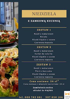 Ulotka niedzielnych obiadów w cenie 24 złote.